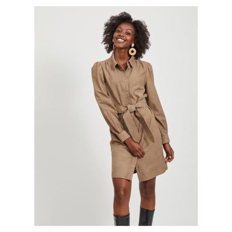 Hnedé kožené košeľové šaty .OBJECT