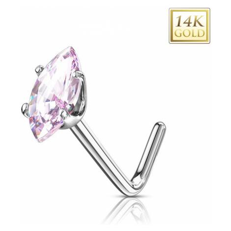 Zlatý 14K zahnutý piercing do nosa - ružové zirkónové zrnko, biele zlato