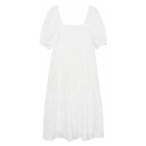MANGO Šaty  biela melírovaná