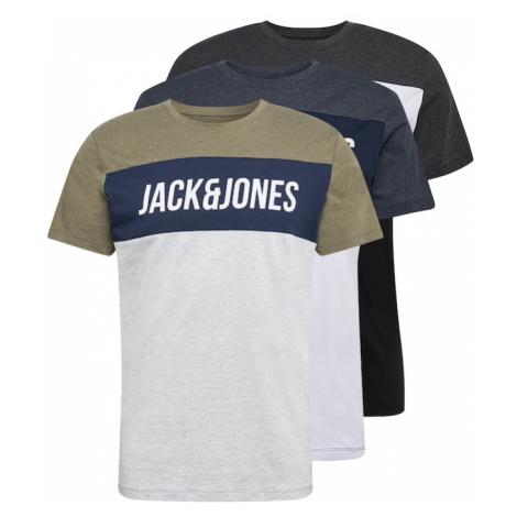 JACK & JONES Tričko 'TEMP'  sivá / biela / čierna