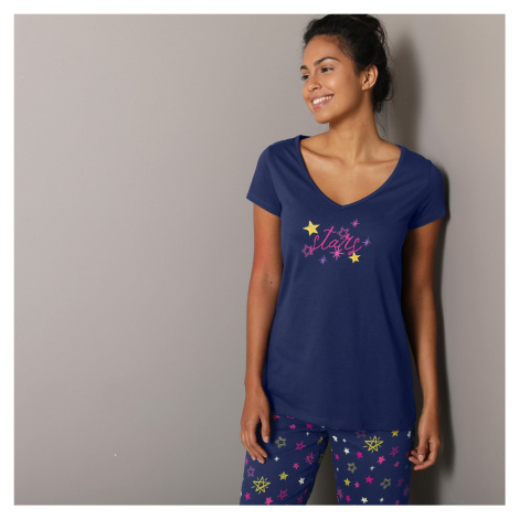 Blancheporte Pyžamové tričko s krátkymi rukávmi s potlačou Estrella námornická modrá