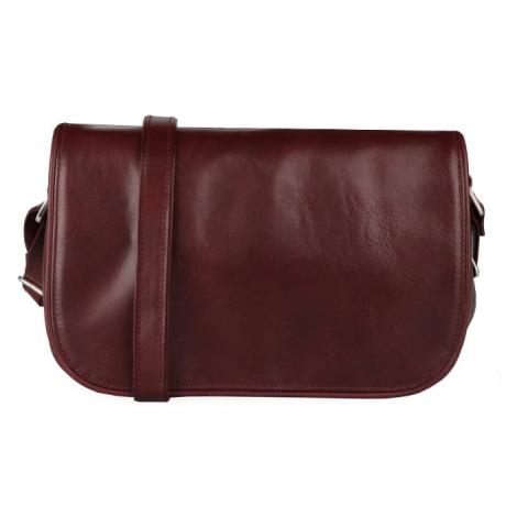 Sněžka Náchod Dámska kožená kabelka cez rameno 4982 - rubín vínová