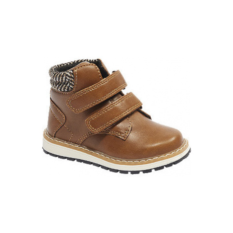 Hnedá detská členková obuv na suchý zips Bobbi-Shoes
