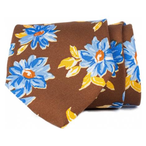 John & Paul Hnedá kravata s kvetmi John & Paul