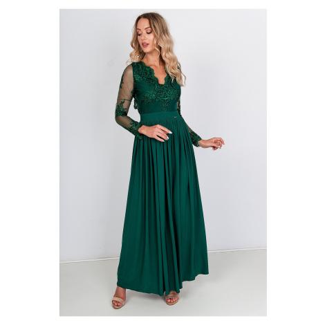 Dlhé zelené spoločenské šaty s čipkovanými rukávmi