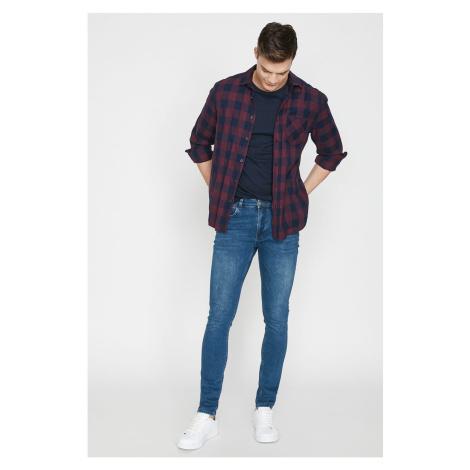 Koton Men's Green Low Waist Slim Fit Extra Narrow Leg Wrap Around Ankle Tight Jean