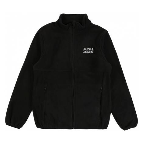 Jack & Jones Junior Flisová bunda  čierna / biela