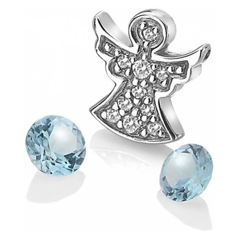 Hot Diamonds Strieborný element anjelik s modrými TOPAZ Anais AC104