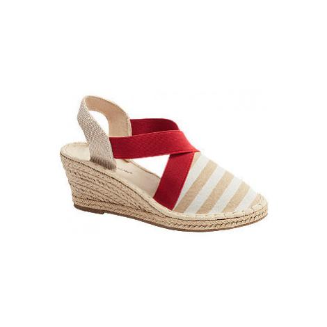 Bielo-béžové sandále na klinovom podpätku Claudia Ghizzani