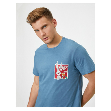 Koton Men's Blue Looney Tunes Licensed Printed T-Shirt