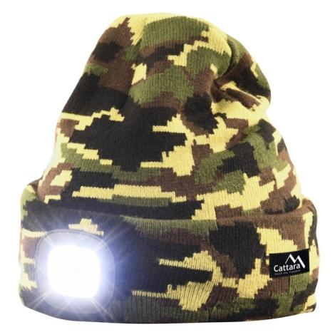 Čiapka ARMY s LED svietidlom Cattara USB nabíjanie