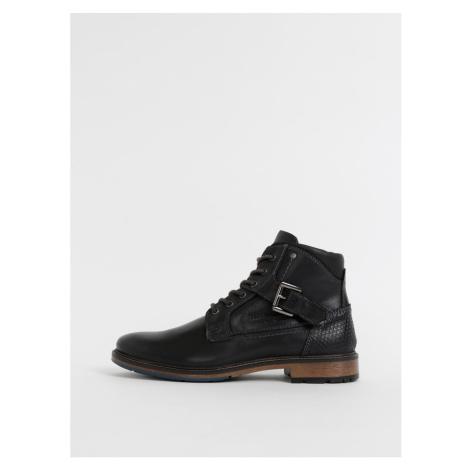 Čierne pánske kožené členkové topánky Tom Tailor