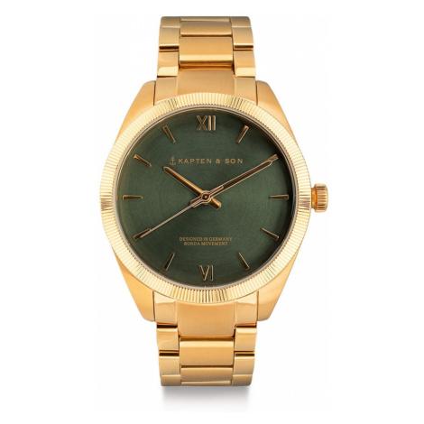Kapten & Son Analógové hodinky 'Crush'  zlatá / tmavozelená