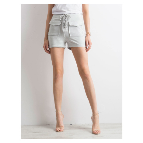 Tied light gray shorts in eco suede