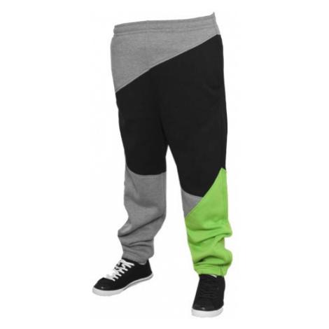 Urban Classics Kids Zig Zag Sweatpants Grey Black Limegreen - Veľkosť:10