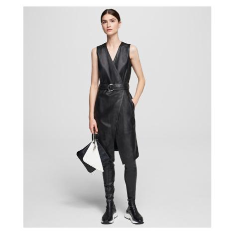 Šaty Karl Lagerfeld Leather Wrap Dress