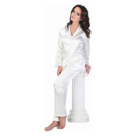 Dámske saténové pyžamo Classic dlhé biele De Lafense