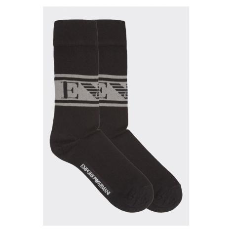 Emporio Armani Underwear Emporio Armani monogram 2-balenie pánskych ponožiek - čierna Veľkosť: J