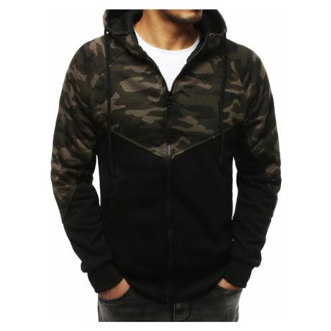 Pohodlná pánska mikina khaki s kapucňou bx4226