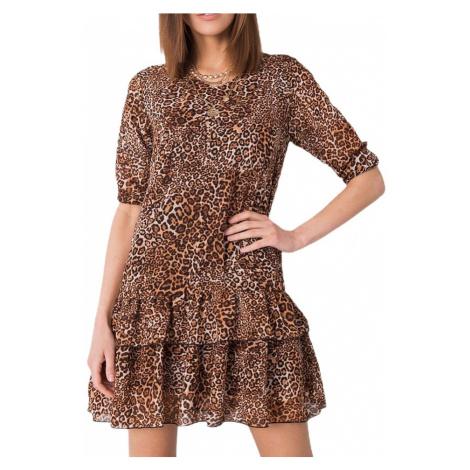 Hnedé mini šaty so zvieracím motívom Rue Paris