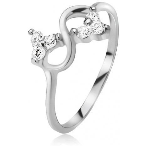 Prsteň zo striebra 925, symbol nekonečna, číre brúsené kamienky - Veľkosť: 67 mm
