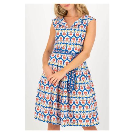 Blutsgeschwister bielo-modré letné šaty Lekker Meisje Antje Van Ameland