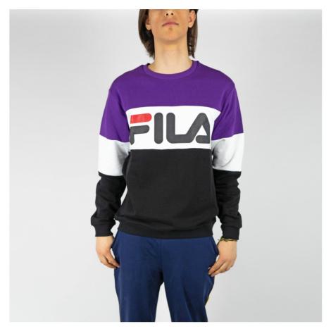 Fialovo-biele tričko Straight blocked crew Fila