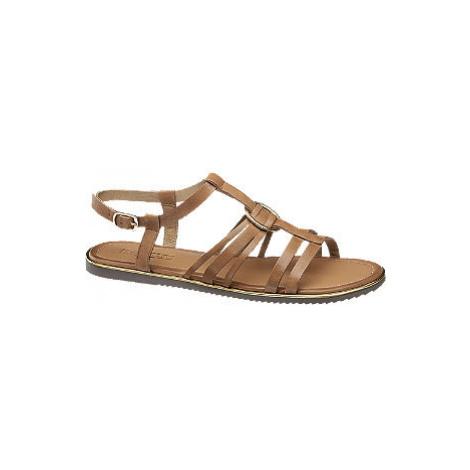 Hnedé kožené sandále 5th Avenue