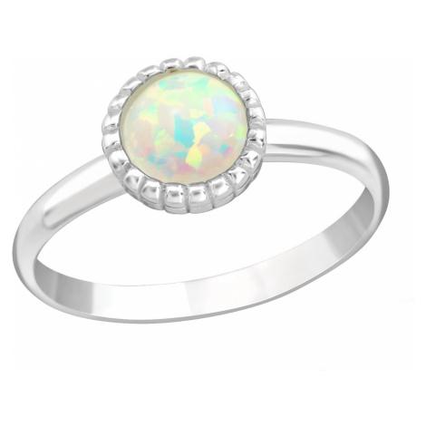 OLIVIE Detský strieborný prsteň BIELY OPÁL 4415