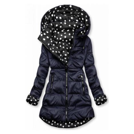 Obojstranná bunda tmavomodrá/bodkovaná