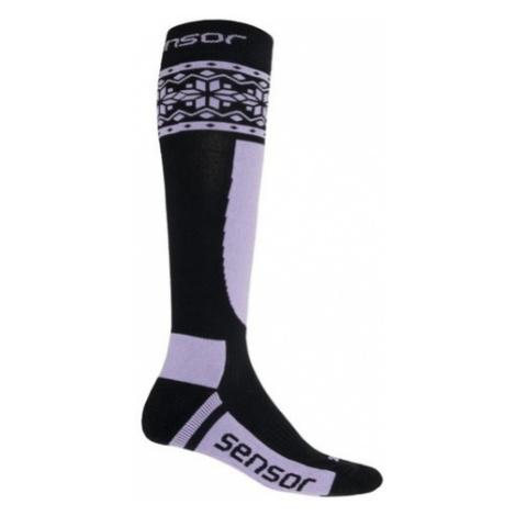 Ponožky Sensor Thermosnow NORWAY čierna / fialová 17200090