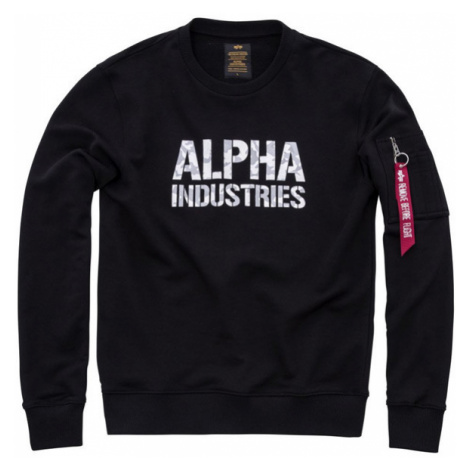 Pánska mikina Alpha Industries Camo Print Sweat Black - Veľkosť:M