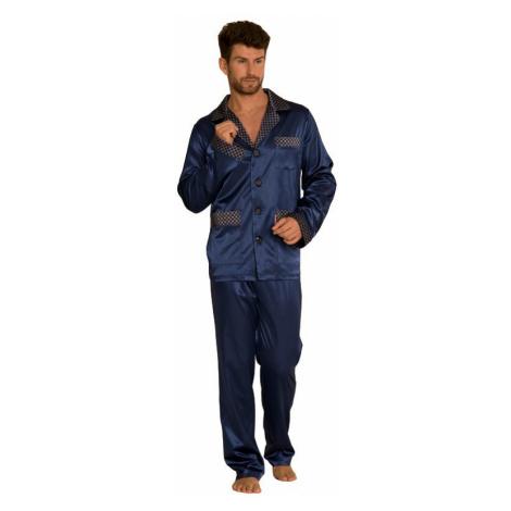 Saténové pánske pyžamo Adam tmavo modré De Lafense