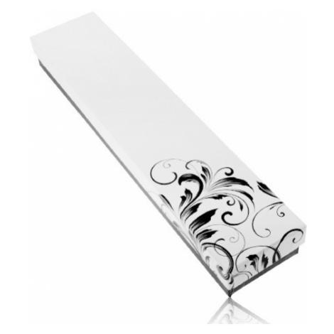 Bielo-čierna krabička na retiazku a hodinky, kvetinový ornament