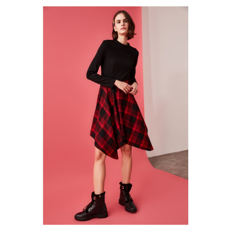 Trendyol Burgundy Plaid AsymmetricAl Dress