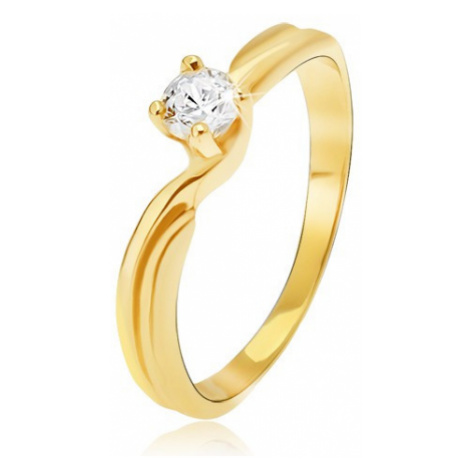 Prsteň v žltom 14K zlate - rozdvojené ramená, okrúhly kamienok v kotlíku - Veľkosť: 58 mm