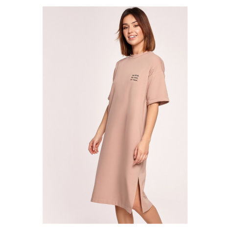 Svetlohnedé tričkové midi šaty B194