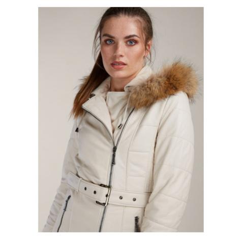 Krémový kožený kabát s kožušinou KARA
