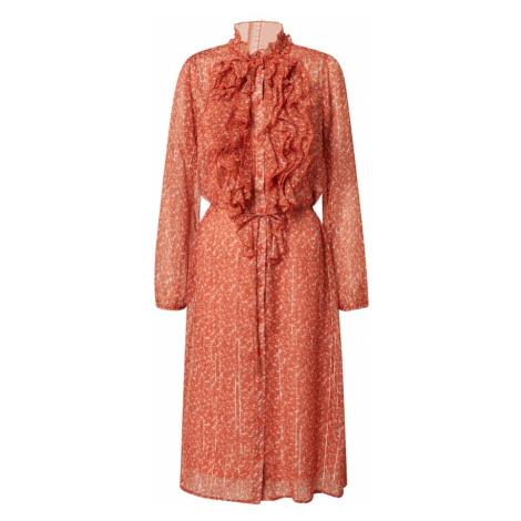 SAINT TROPEZ Košeľové šaty 'Xelina'  oranžovo červená / béžová
