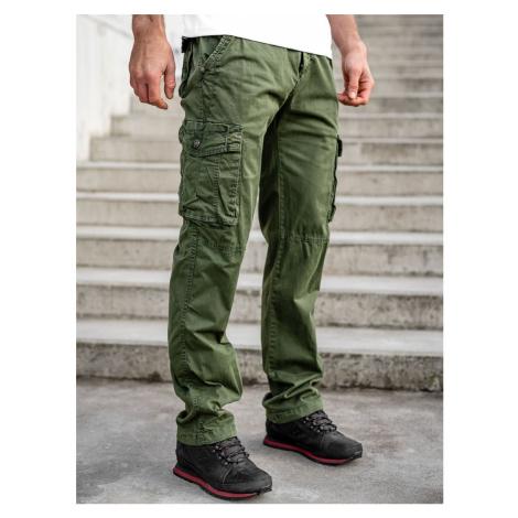 Zelené pánske kapsáčové nohavice s opaskom Bolf CT8906