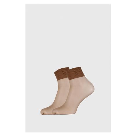 2 PACK dámskych pančuchových ponožiek 6 DEN hnedá Ysabel Mora