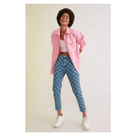 Trendyol Blue Square High Waist Mom Jeans