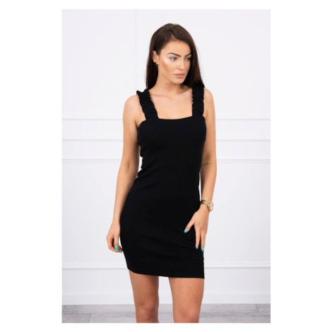 Dress with frills on the straps black