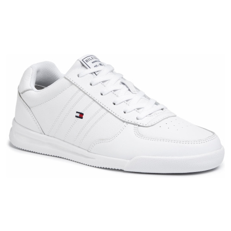 Sneakersy TOMMY HILFIGER - Lightweight Leather Sneaker Flag FM0FM02740 White YBS