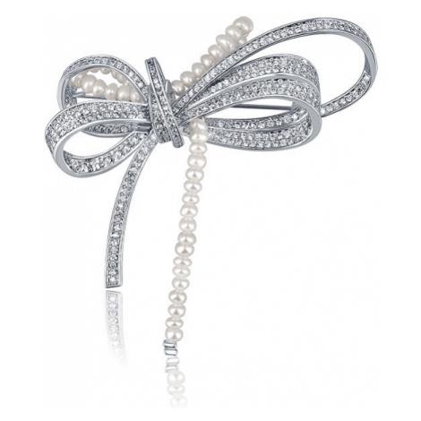 JwL Luxury Pearls Luxusná dámska brošňa s perličkami 2v1 Mašľa JL0666