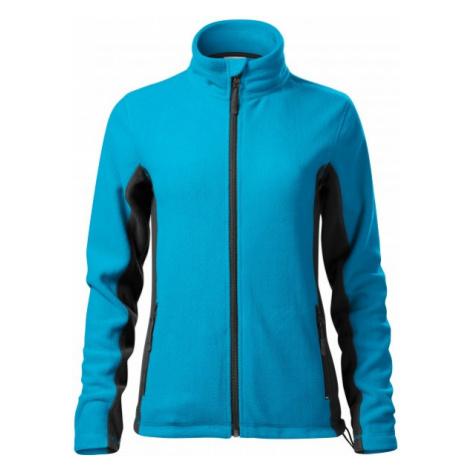 Dámska fleecová bunda kontrastná, tyrkysová