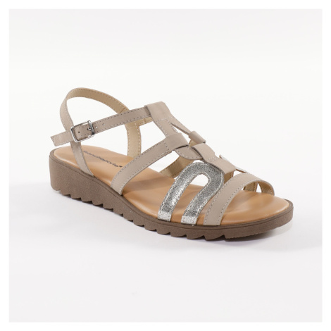 Blancheporte Kožené sandále na kline, z 2 materiálov béžová