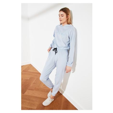 Trendyol Velvet Pajama Suit with Light Blue Hoodie