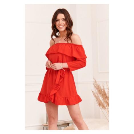 Vzdušné španielske šaty s voľnými, ¾ dlhými rukávmi, červené FASARDI