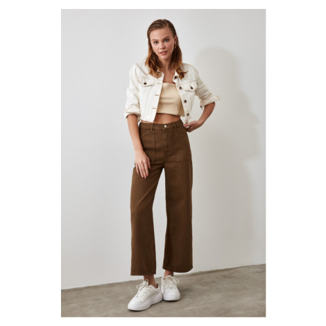 Trendyol Khaki Pocket Detailed High Waist Wide Leg Jeans Khaki